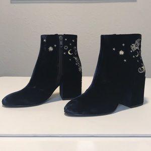 Ash navy velvet booties